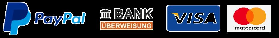 Zahlungsmöglichkeiten: PayPal, Bank Überweisung, Kreditkarte VISA, Kreditkarte MasterCard (Logos)